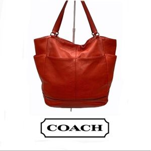 Coach Park North South Tote Leather Red